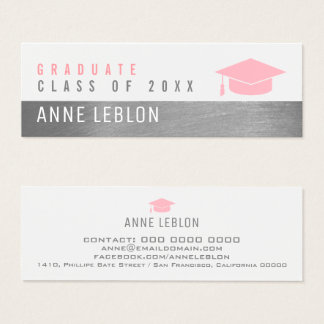 graduate name, elegant class of, pink feminine mini business card