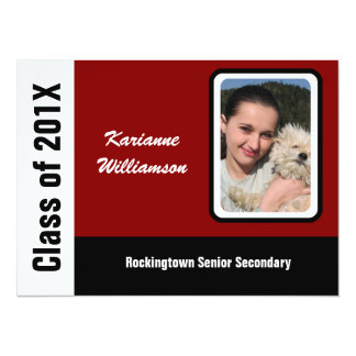 """Graduate of 2012 with  Photo Black, Red & White 5.5"""" X 7.5"""" Invitation Card"""