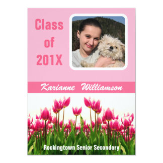 """Graduate of 2012 with  Photo  Pretty Pink Tulips 5.5"""" X 7.5"""" Invitation Card"""