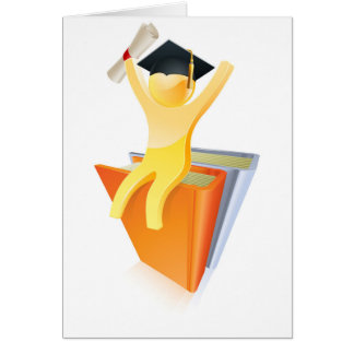 Graduate on books with diploma greeting cards