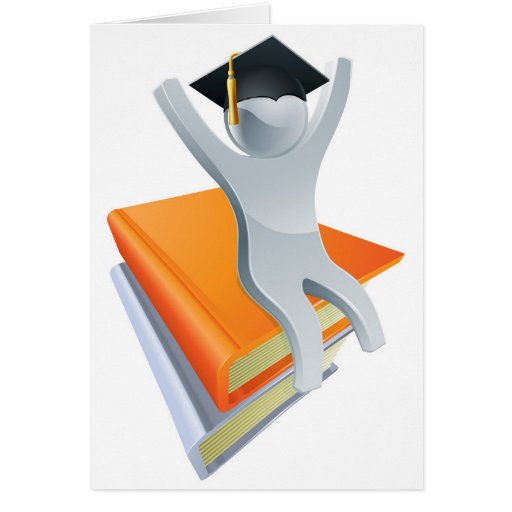 Graduate on giant books cards