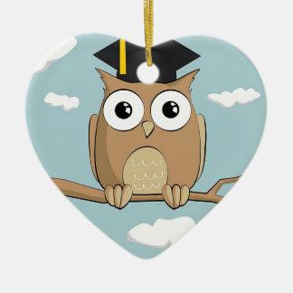 Graduate Owl Ceramic Heart Ornament