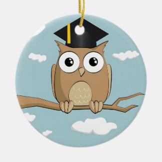 Graduate Owl Round Ceramic Ornament
