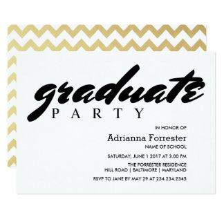Graduate Party Faux Gold Foil Chevron Pattern Card