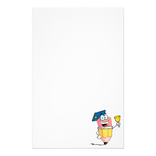 graduate pencil cartoon ringing a bell personalized stationery