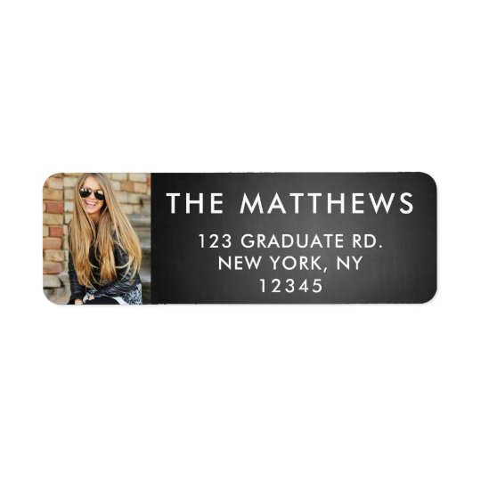 Graduate Photo Modern Typography Black Chalkboard Return Address Label