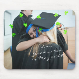 Graduate Photo Name Custom, Clover Confetti Green Mouse Pad