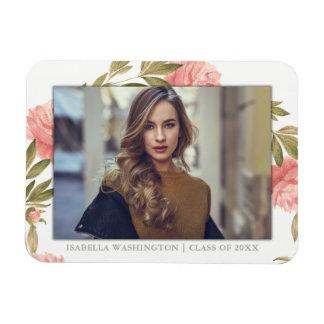 Graduate Photo | Romantic Watercolor Flowers Magnet