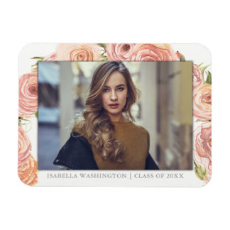 Graduate Photo | Romantic Watercolor Roses Magnet