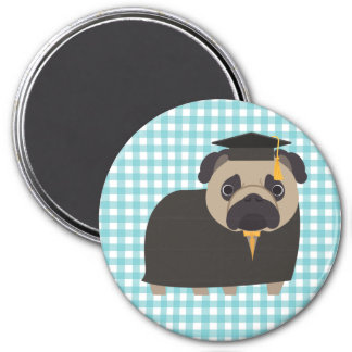 Graduate Pug on Blue and White Gingham Design Magnet