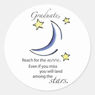 Graduate Reach for Moon, Congratulations Classic Round Sticker