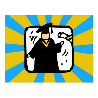 Graduate Receiving Diploma 2 Gold Blue Postcard