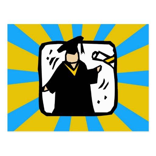 Graduate Receiving Diploma (2) Gold & Blue Postcard
