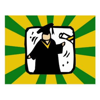 Graduate Receiving Diploma - Green & Gold Postcard