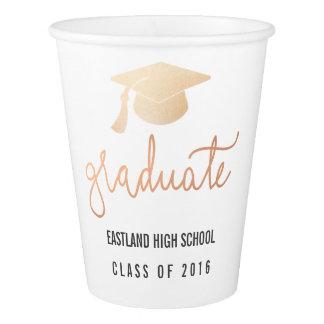 Graduate Rose Gold Script Hat Paper Cup