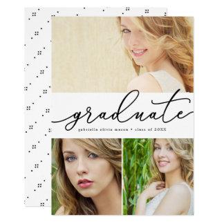 Graduate Script 3 Photo Graduation Announcement