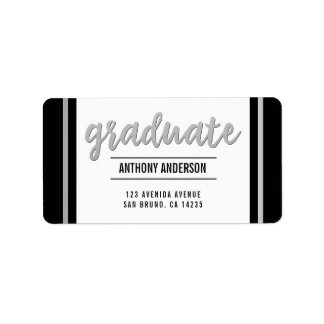 Graduate | Sleek Silver Border & Script on Black Label