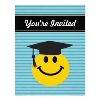 Graduate smiley face custom announcements