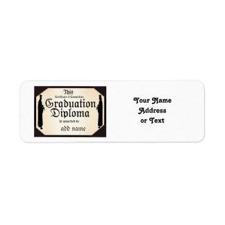 Graduate Standing Tall Diploma Return Address Label