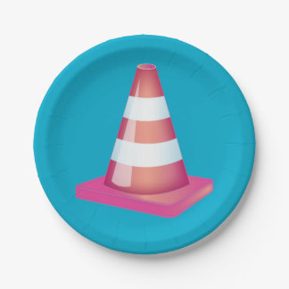 Graduate Student Prank Striped Traffic Cone Party 7 Inch Paper Plate