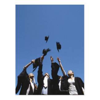 Graduate students throwing mortar boards, postcard