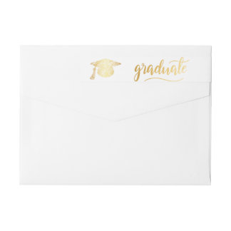 Graduate Typography Faux Gold Graduation Hat Wrap Around Label