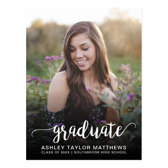 Graduate Typography Photo Graduation Announcement Postcard