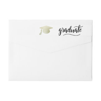 Graduate Typography Silver Foil Graduation Hat Wrap Around Label