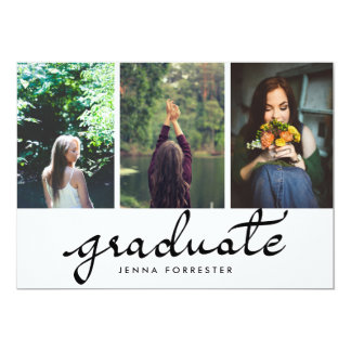 "Graduate Typography Three Photos Graduation Party 5"" X 7"" Invitation Card"
