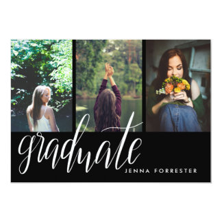 Graduate Typography Three Photos Graduation Party Card
