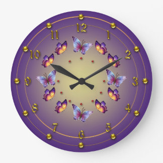 Graduated Purple and Yellow  Butterfly Ring Wallclock