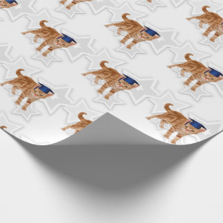 Graduating Cat Lover Orange Tabby with Blue Cap Wrapping Paper