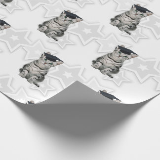 Graduating Cat Lover Silver Tabby with Black Cap Wrapping Paper