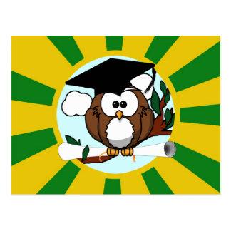 Graduating Owl w/  Green & Gold School Colors Postcard