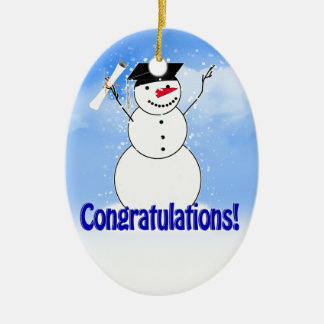Graduating Snowman With Diploma Ceramic Oval Ornament