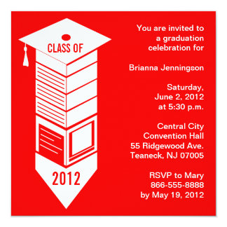 Graduation 2012 Pencil Cap Invitation Red White