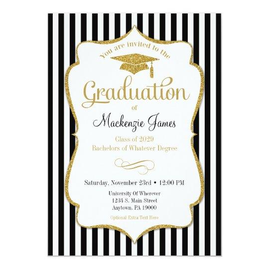 Graduation Announcement Invitation Elegant Stripe