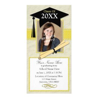 Graduation Announcement Photo Card-Black & Yellow Photo Greeting Card