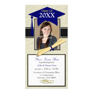 Graduation Announcement Photo Card - Blue & Black