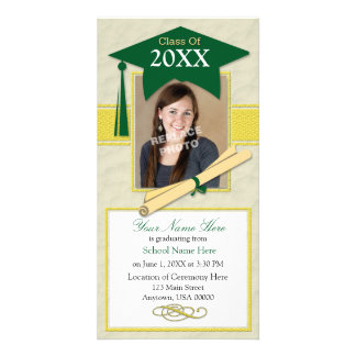Graduation Announcement Photo Card-Green & Yellow