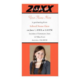 Graduation Announcement Photo Card-Orange Black