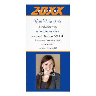 Graduation Announcement Photo Card-Orange & Blue Custom Photo Card