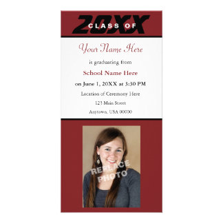 Graduation Announcement Photo Card-Red and Black Personalized Photo Card