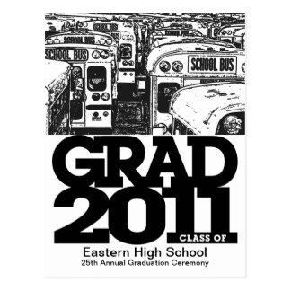 Graduation Announcement Postcard School Bus 1
