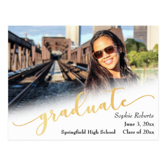 Graduation Announcement w/ Photo & Faux Gold Foil Postcard