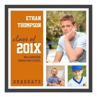 Graduation Announcement with 3 Photos Orange