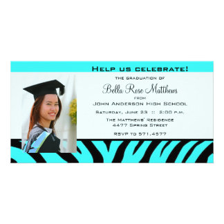 Graduation Aqua Zebra Photo Card