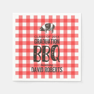 Graduation BBQ Party Red Gingham Pig Roast Paper Napkins