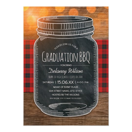 Graduation BBQ Party Rustic Chalkboard Mason Jar Card