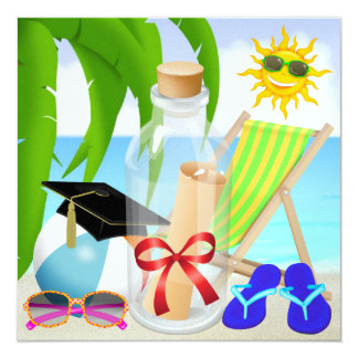 Graduation Beach Party - Invitation in a Bottle -